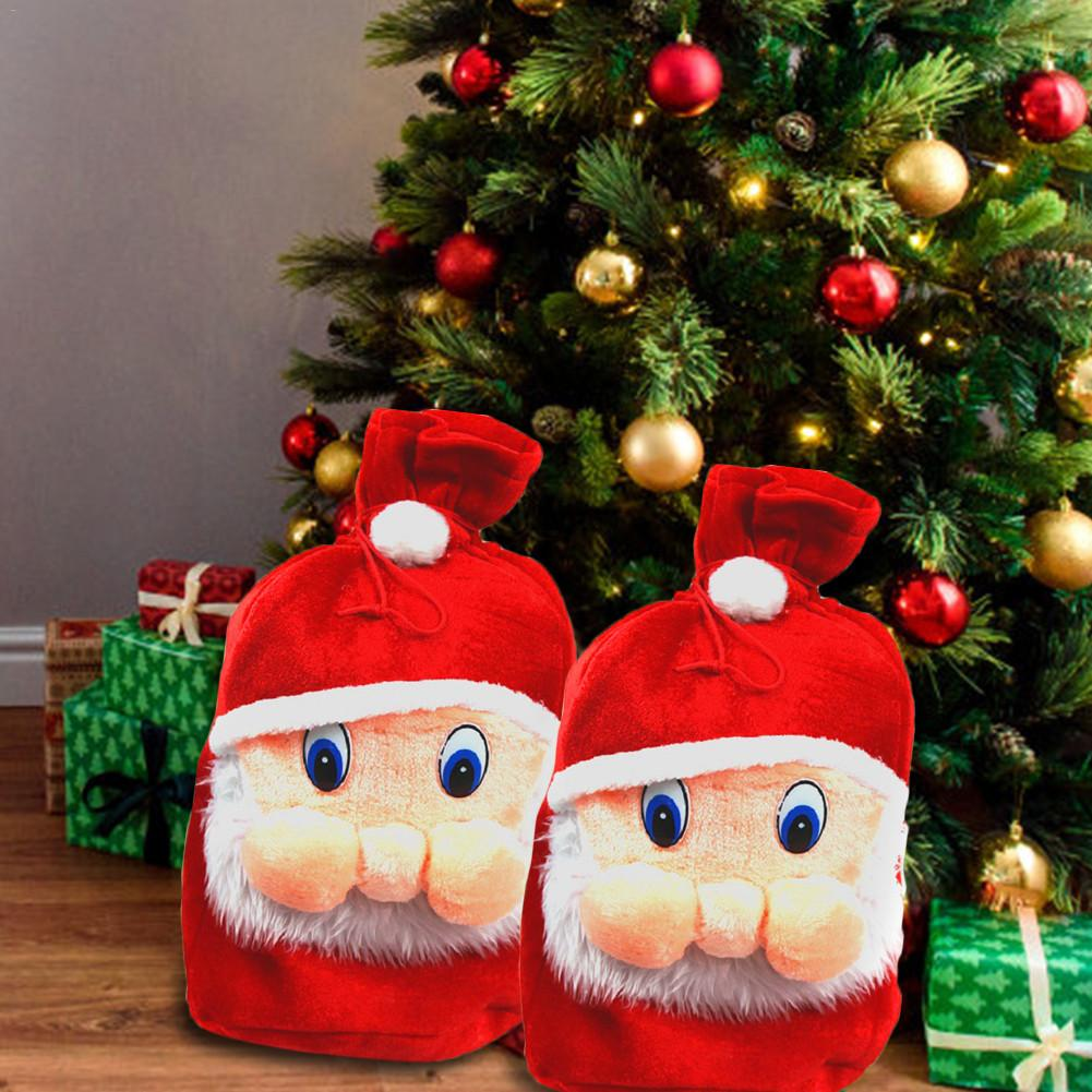 Christmas Gift Bags Santa Sack Drawstring Storage Pouch Christmas Decoration Supplies