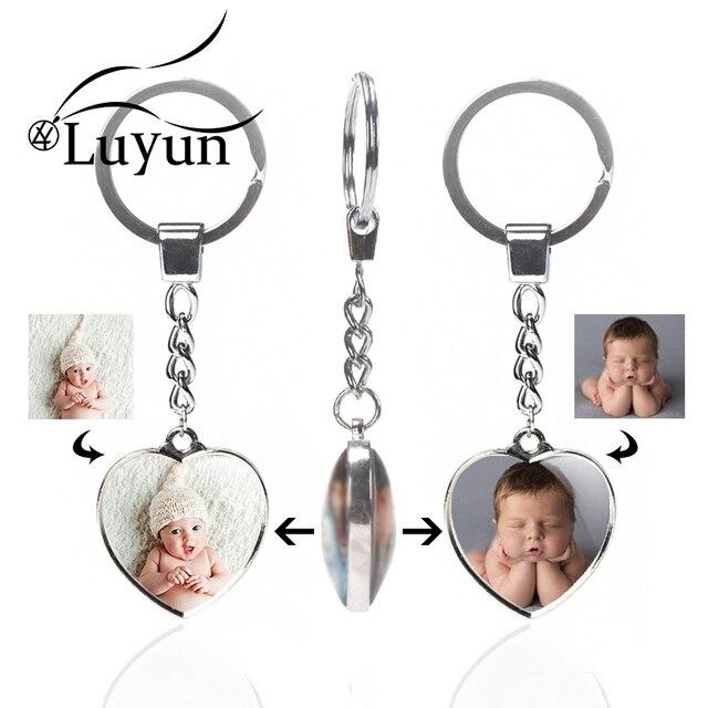 Luyun Coustom dwustronne akcesoria do breloków szkło kryształowe breloczek kobiety prezent moda breloki na prezenty na rocznicę