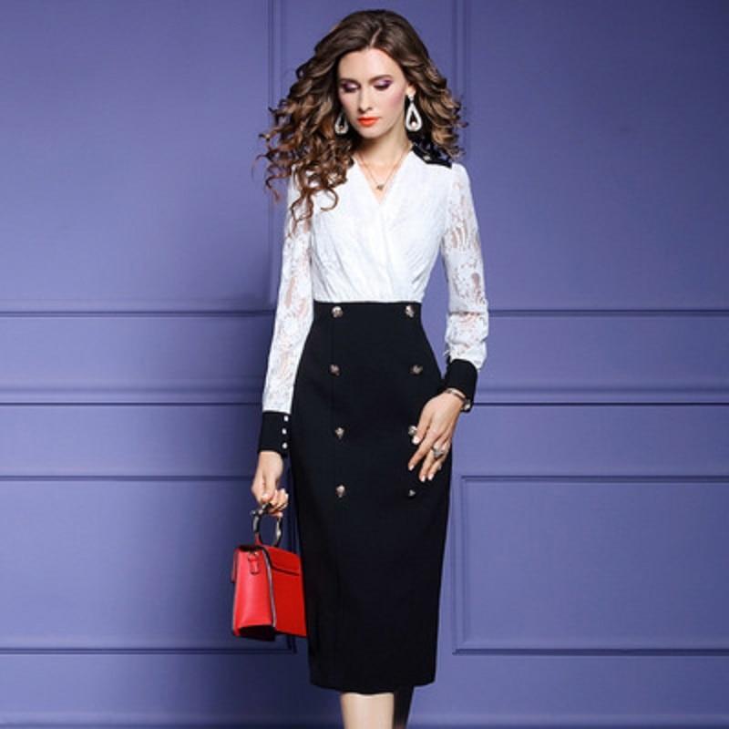 2021 Fake two piece spring Lace dress Office lady long sleeve V-neck dresses Autumn women's slim print patchwork Dress plus XXXL