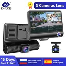 E-ACE Автомобильный видеорегистратор 3 камеры s объектив 4,0 дюймов видеорегистратор двойной объектив с камерой заднего вида видеорегистратор авто регистратор Dvrs видеорегистратор