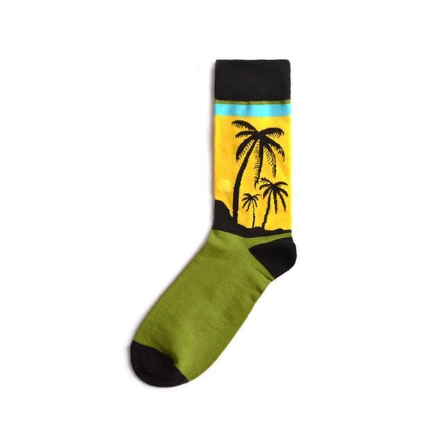 Hot Fashion Men's Long Socks Harajuku Hip Hop Funny Cherry Banana Sushi Pattern Cool Colorful Dress Socks for Male Wedding Gifts 2