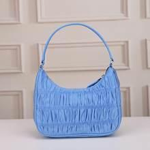 2020 lüks tasarım kadınlar Hobo pilili çanta şeker renk yarım ay koltukaltı çanta naylon Hobo omuzdan askili çanta Flap çantalar Tote