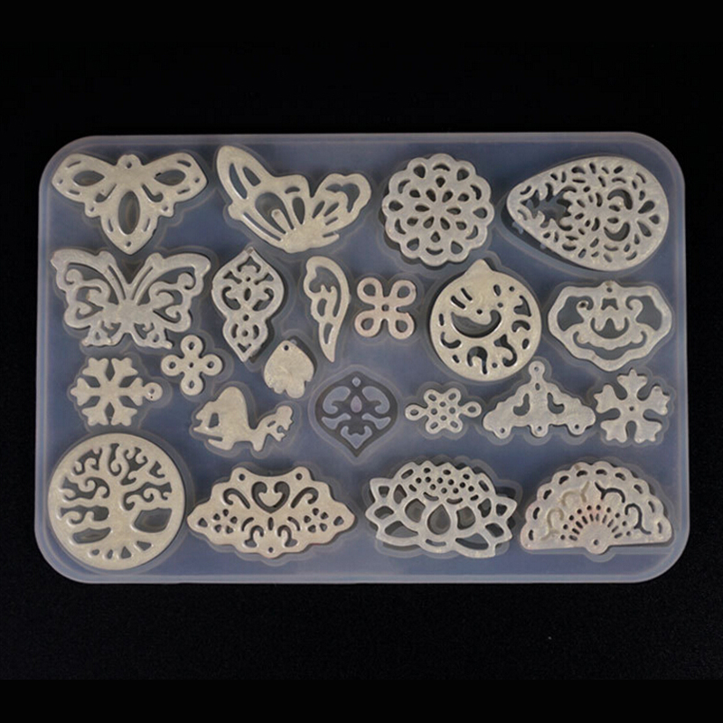 1PCS Translucent Silicone Mold Vintage Hollow Earring Pendant DIY Jewelry Making Tool Moulds UV Epoxy Resin Decorative Craft
