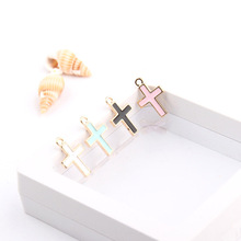 10pcs 11*16.5mm Crosses Design Enamel Charms Pendants Religion Jesus Floating DIY Bracelet Earrings Jewelry  Accessories FX087