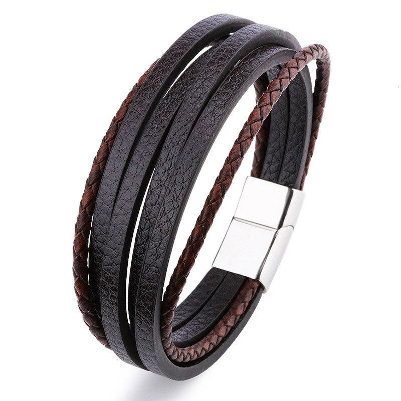 Мужской браслет, многослойный кожаный браслет с магнитной застежкой, Воловья кожа, плетеный многослойный браслет, модный браслет на руку, pulsera hombre - Окраска металла: 8