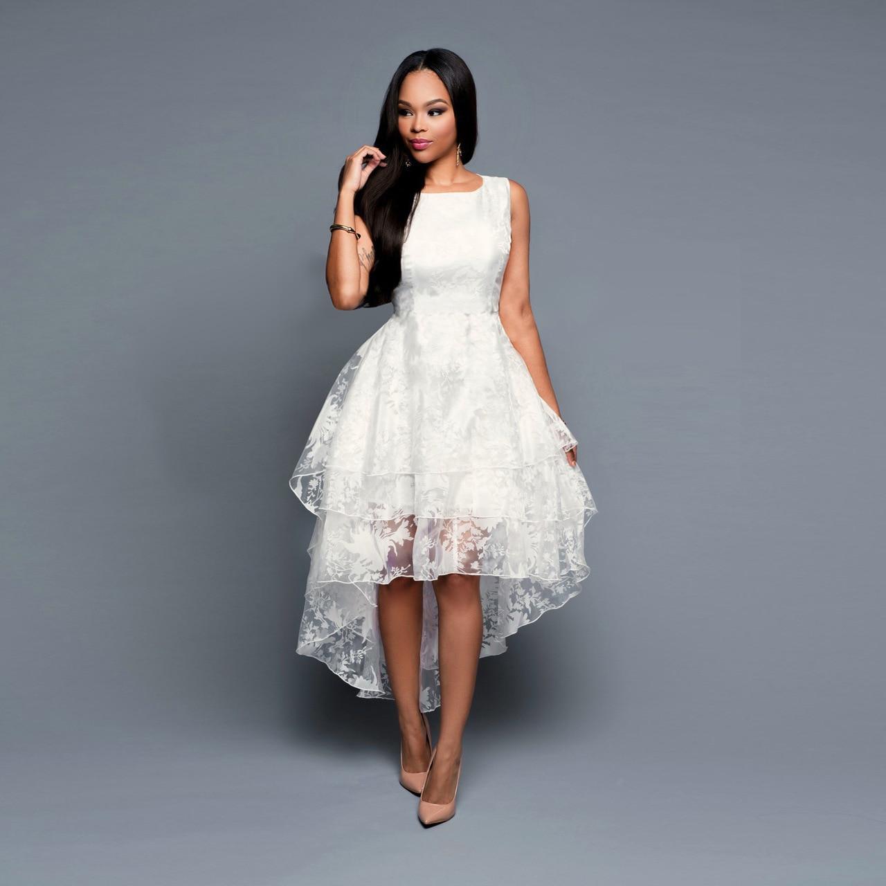 Summer Maxi Dress 2020 Women O-Neck Sleeveless Sweet Ball Gown White Organza High Low Evening Party Dress Robe De Coktail