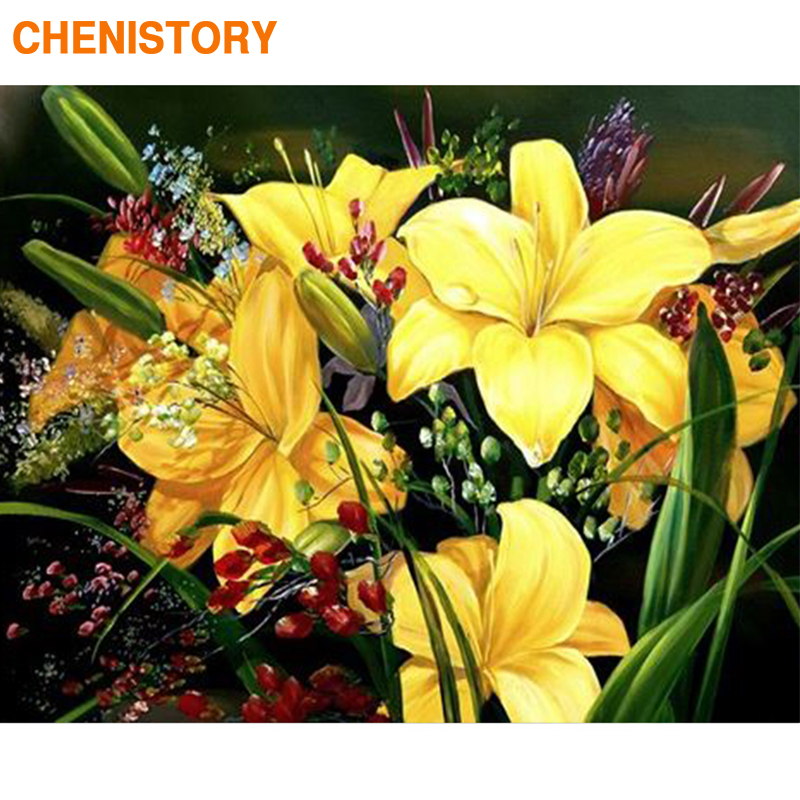 CHENISTORY Frame DIY Painting By Numbers Yellow Lily Kit Paint By Numbers Home Wall Art Decors Canvas By Numbers For Art Picture