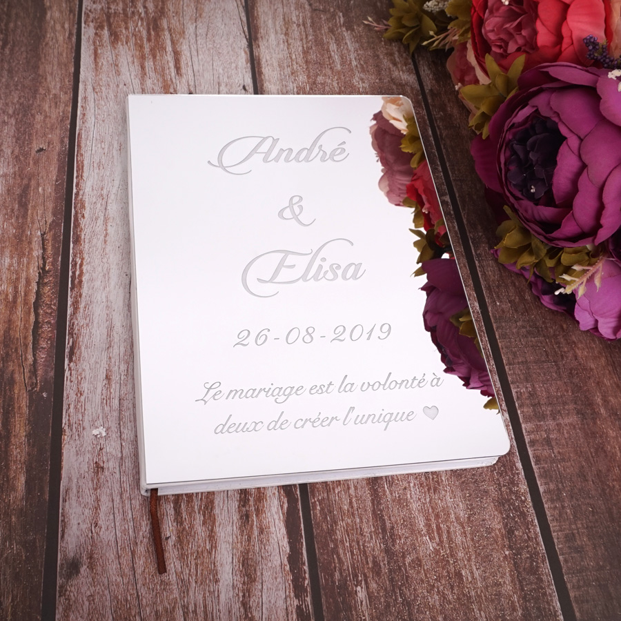 26cm X 19cm Custom Delicate Wedding Signature Guestbook Personalized White Blank Sheet Check in Books Party Decor Supplies