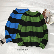Зимний полосатый свитер мужской модный Контрастный ЦВЕТНОЙ Повседневный вязаный пуловер мужской свитер свободный свитер с длинными рукавами мужская одежда