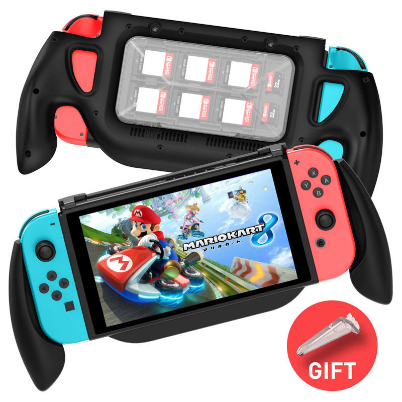 Anti-skidding Comfortable Game Console Bracket Holder Handle Hand Grip Cover With Game Card Storage Case For Nintend SWitch Game