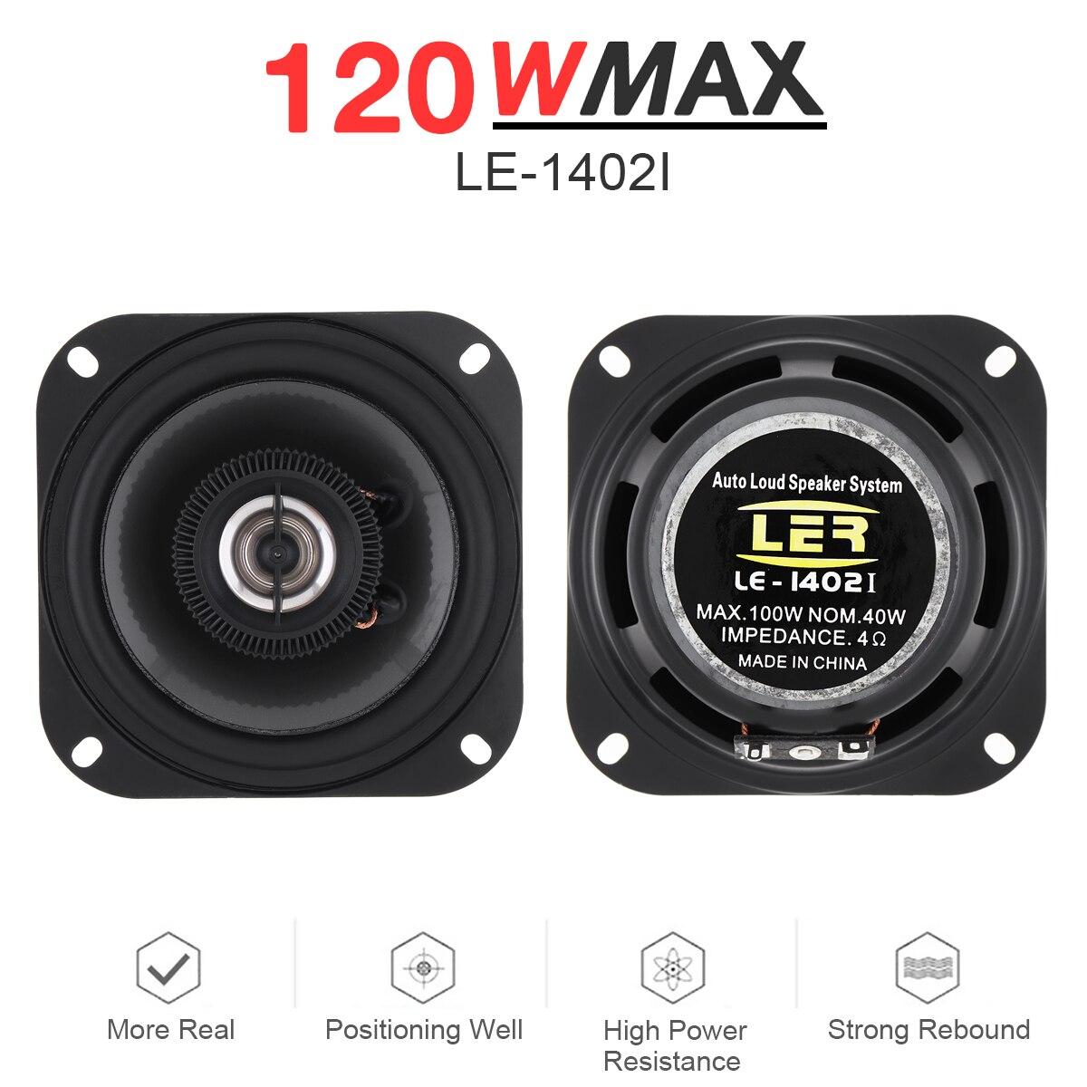 2 pcs 4 polegada 120 w 2 vias universal carro coaxial alto falantes de audio estereo