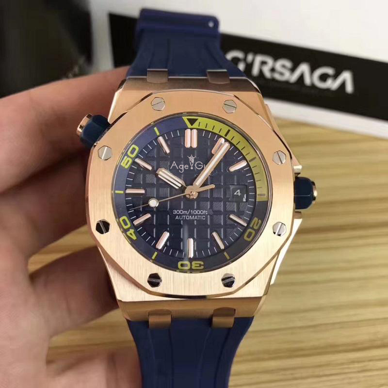 Luxury Brand New Men Stainless Steel Automatic Mechanical Watch Diver Sapphire Sport Watches Black Rubber Rose Gold Royal Oaks