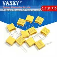 10pcs 100nF capacitor X2 capacitor 275VAC Pitch 10mm X2 275V Polypropylene film capacitor 0.1uF