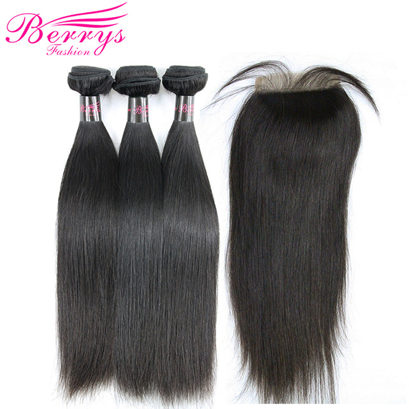 Bundles Closure Berrys Human-Hair Fashion Peruvian Hair-Weft Lace Unprocessed Straight