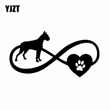 YJZT 17.7X9.2CM Car Sticker Boxer Dog Love Heart Pet Vinyl Decal Window Bumper Black/Silver C24-1175 image