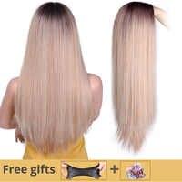 ICH der eine perücke Lange Gerade Synthetische Perücke Mixed Braun und Blonde Lange Perücken für Weiß/Schwarz Frauen Mittleren teil Natur Perücken