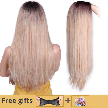Jestem peruką długa prosta peruka syntetyczna mieszane brązowe I blond peruki z długimi włosami dla białych czarnych kobiet środkowa część natura peruki tanie i dobre opinie I s a wig Wysokiej Temperatury Włókna Proste 130 Średnia wielkość 1 sztuka tylko WL9315 24 inch