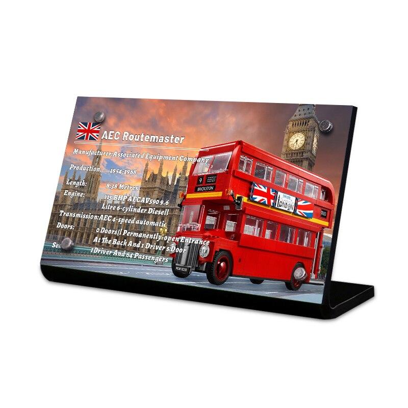 Die Acryl display stand marke für creator 10258 London Bus spielzeug bausteine