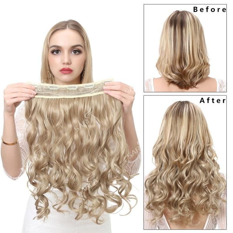 SARLA 20 ''волнистые накладные волосы с зажимом длинные Омбре натуральные синтетические волосы термостойкие поддельные шиньоны для женщин