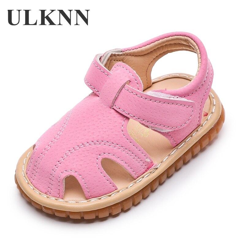 Baby Sandals Boy's Toddler Soft Bottom Girls 0-1-2-3 Years Old Small Children's Baby Sound Shoes Kid's Summer Non-slip Size