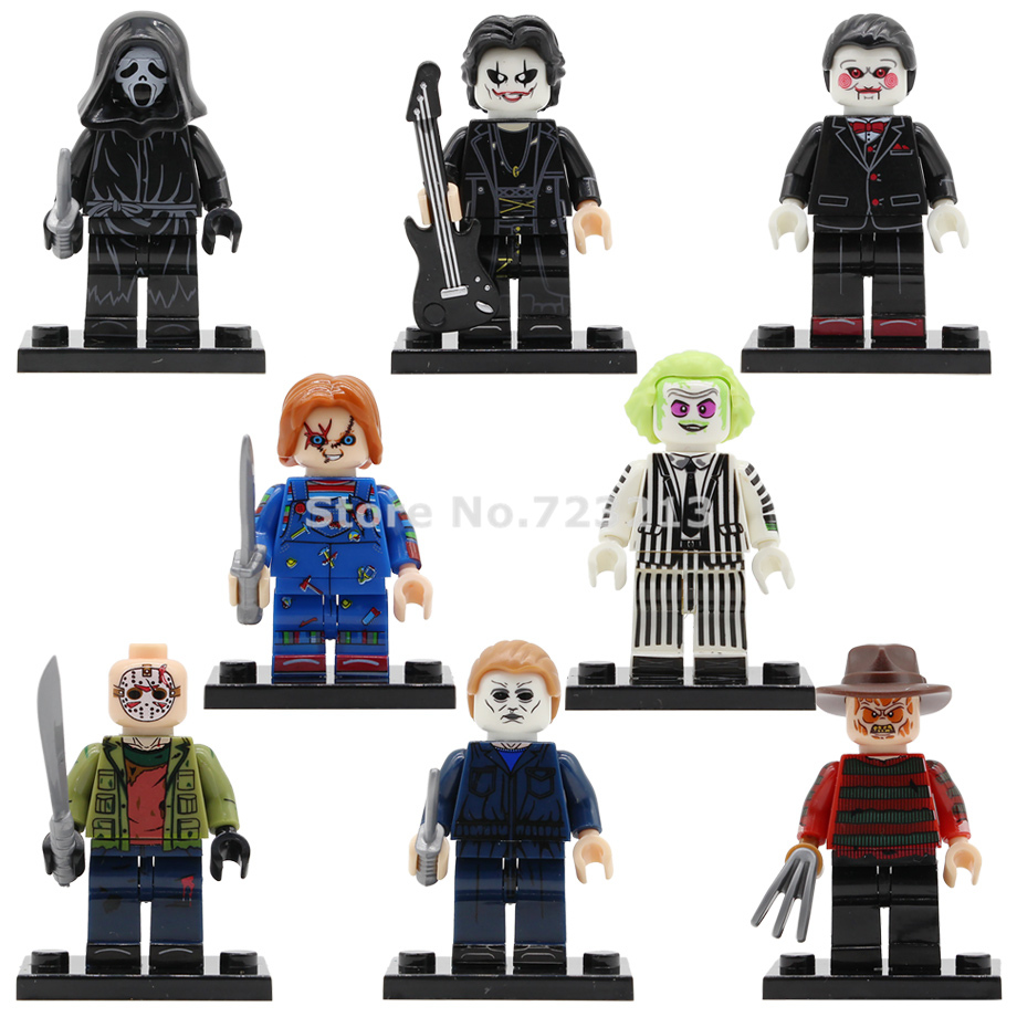 Single Sale Horror Movie Figure Scream Myers Child's Play Eric Draven Billy Freedy Jason Building Blocks Bricks Toys Legoing
