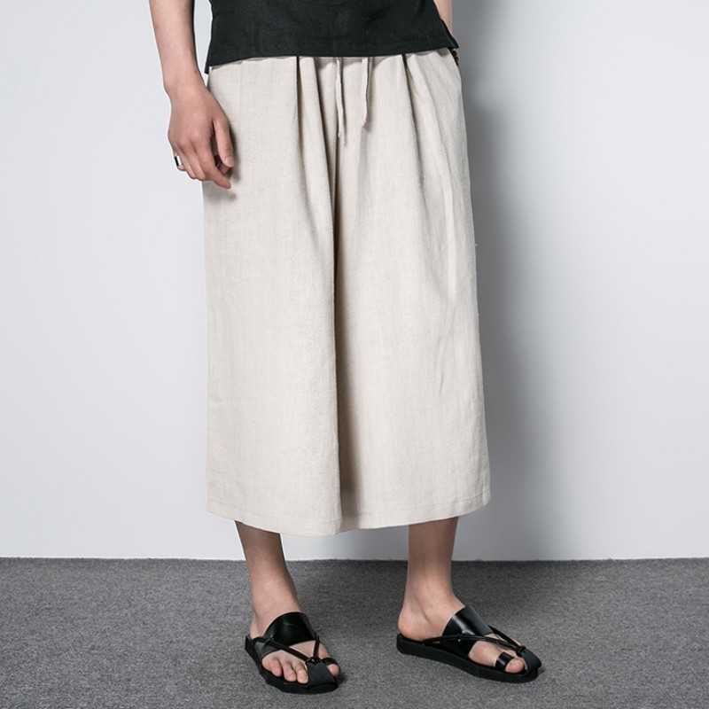2020 New Summer Comfortable Thin Men Wide Leg Pant Japan Style Fashion Casual Cotton Linen Trousers Male Loose Skirt Pant Mens