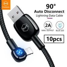 10 шт./лот, USB кабель Mcdodo 2A, кабель для быстрой зарядки и передачи данных для iPhone XR XS Max X 8 7 Plus, автоматическое зарядное устройство, светодиодный Налокотник