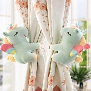 Image 4 - 2pcs Unicorn Window Curtain Hook Straps  Bedroom Buckle Hangers Belt Tieback Buckle Kids Children Bedroom Decorative Accessories