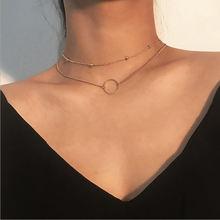 Perles chaîne Double couches Collier Ras Du Cou pour les femmes deux couches Collier rond couleur or Chocker Collier Femme Collier Ras Du Cou