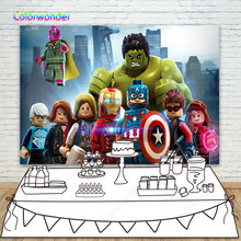 Lego Avenger Birthday Theme Party Backdops Marvel Superhero Iron-Man Captain America City Photography Backgrond For Baby Shower(China)
