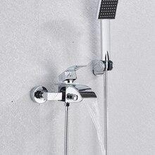 Quyanre хромированный Водопад смеситель для ванны настенное крепление; Водопад смеситель горячей и холодной воды смеситель для ванны смесител...