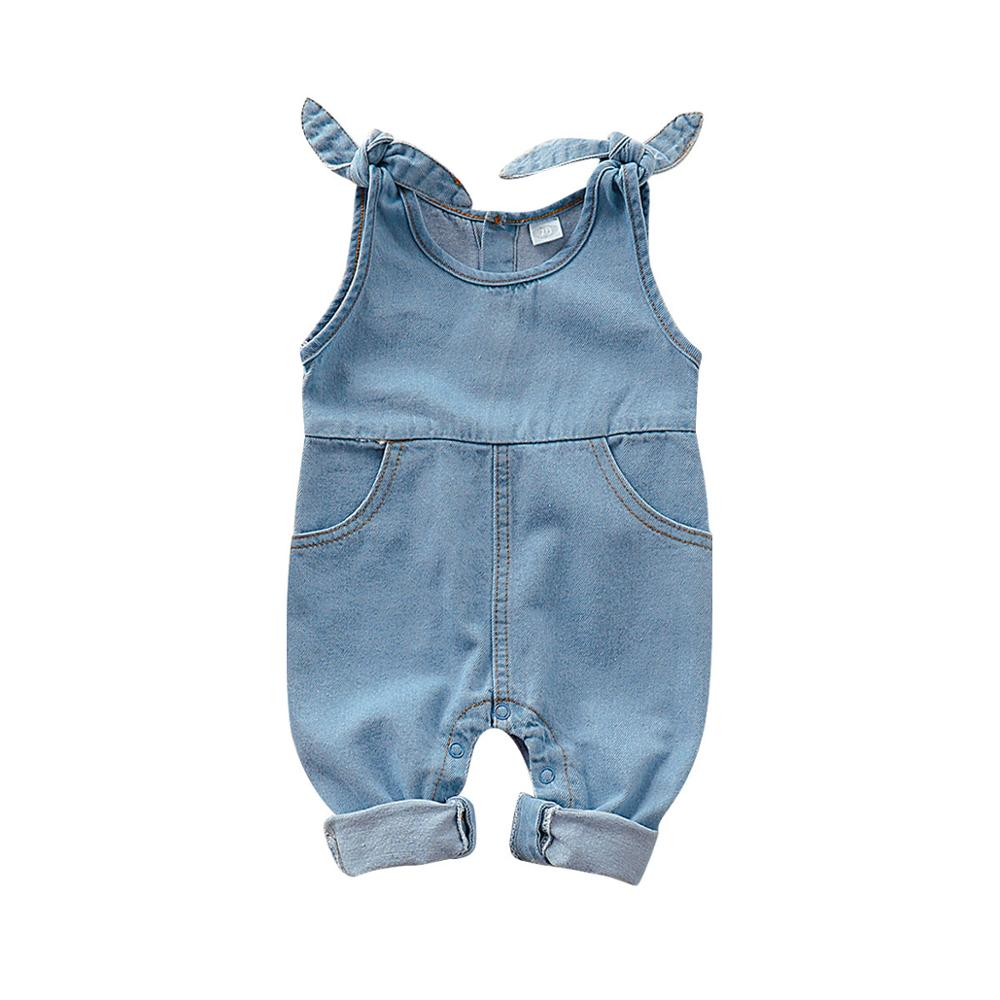 Baby   Rompers   for Newborn Girls One Piece Jumpsuits Navy Jean Infantil Bebes Sleeveless Playsuits 0-18M Children Overalls Clothes