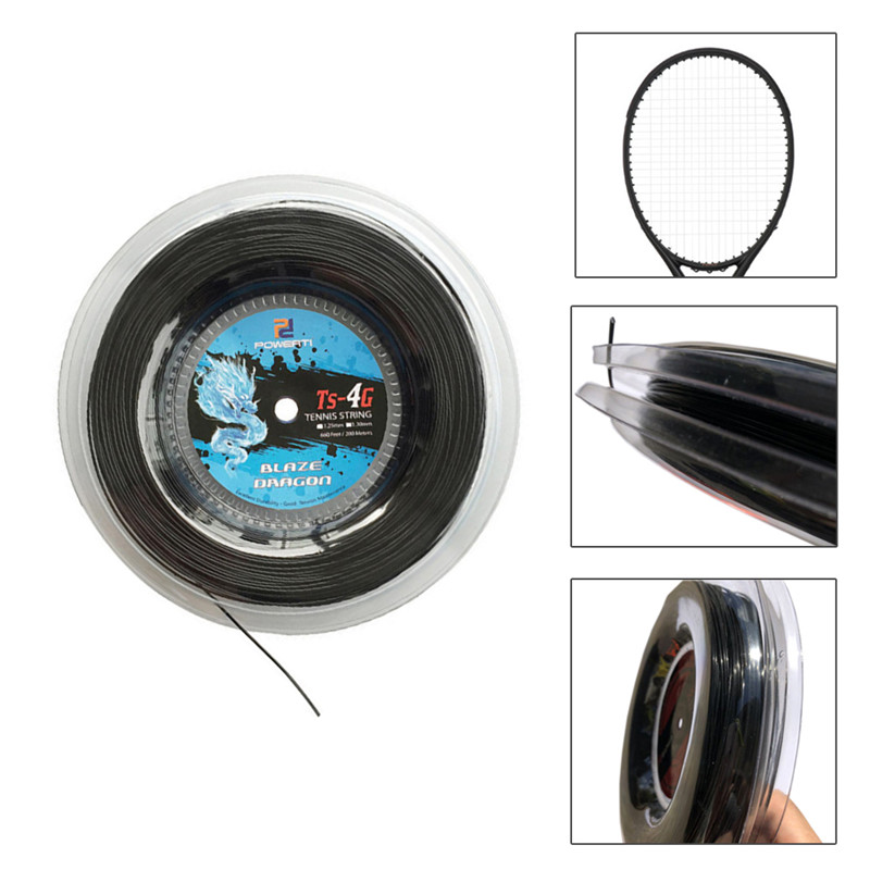 1 Reel Powerti 1.30mm/1.25mm Tennis String 4G Polyester Training Racket String 200m Reel Gym Sport Outdoor Black String