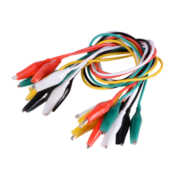 10pcs/lot Color Jumper Wire Alligator Clips Clip Double-ended DIY Test Leads Alligator 50CM  width 2.5mm Probe Meter Boot kit