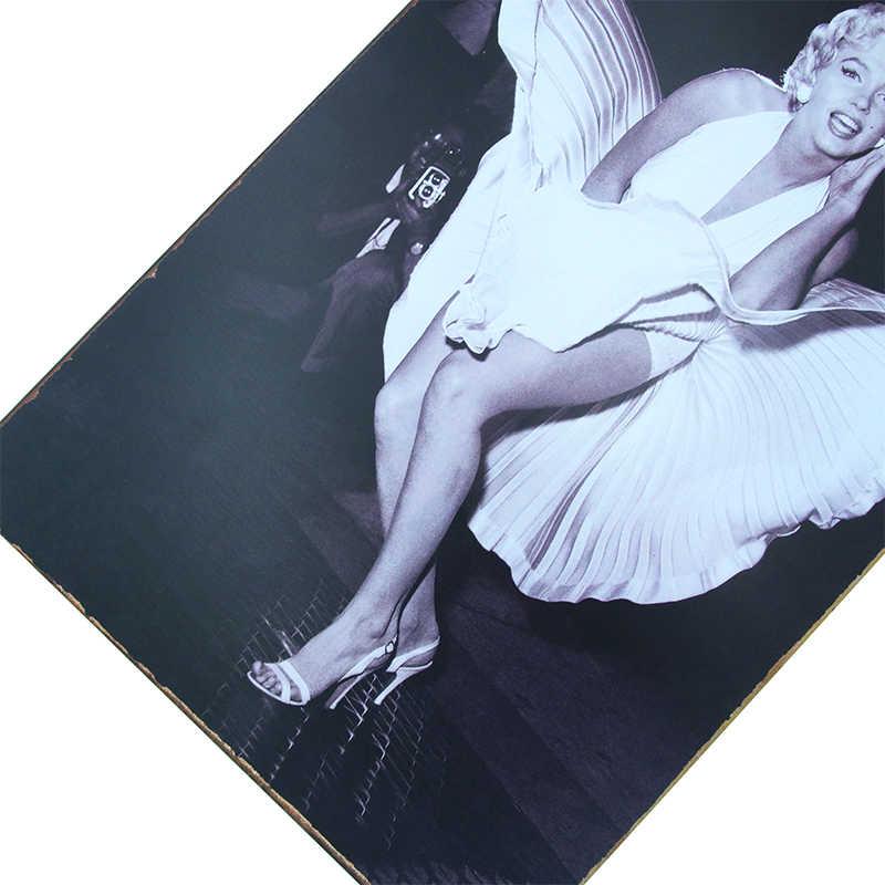 Dlkklb Antik Decorative Dewi Marilyn Monroe Vintage Lukisan Logam Plakat Tanda Logam Poster Bar Club Casino Stiker Dinding