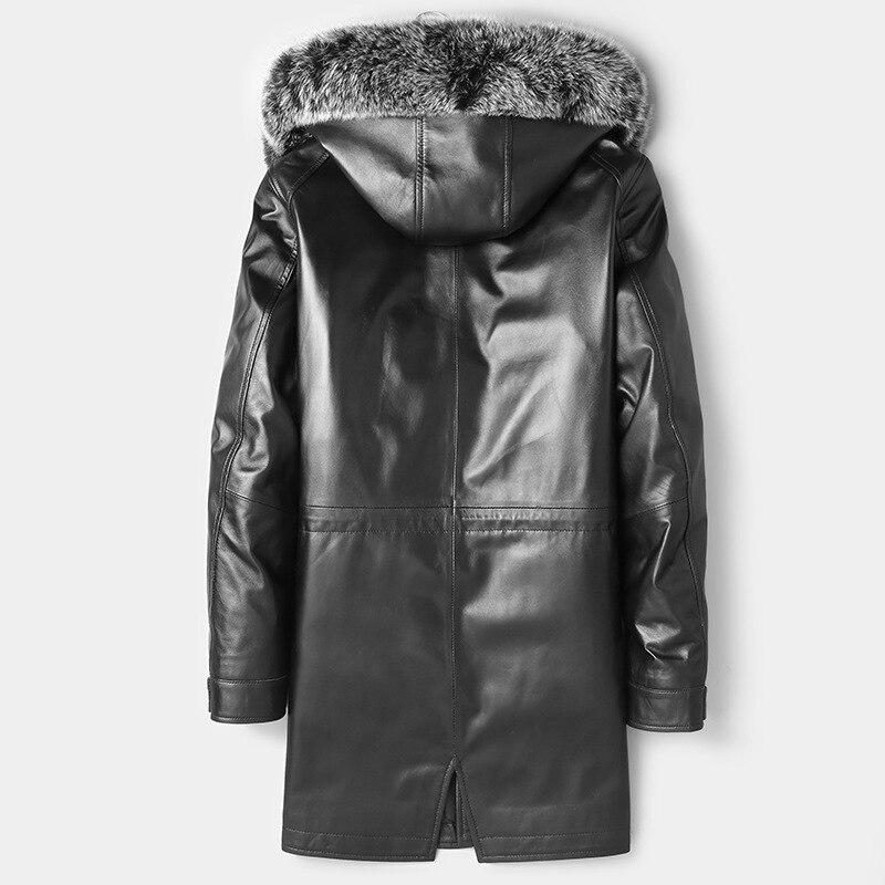 Men's Sheepskin Coat Genuine Leather Winter Duck Down Jacket Men Fox Fur Collar Hooded Long Coat 81Z1801 YY278