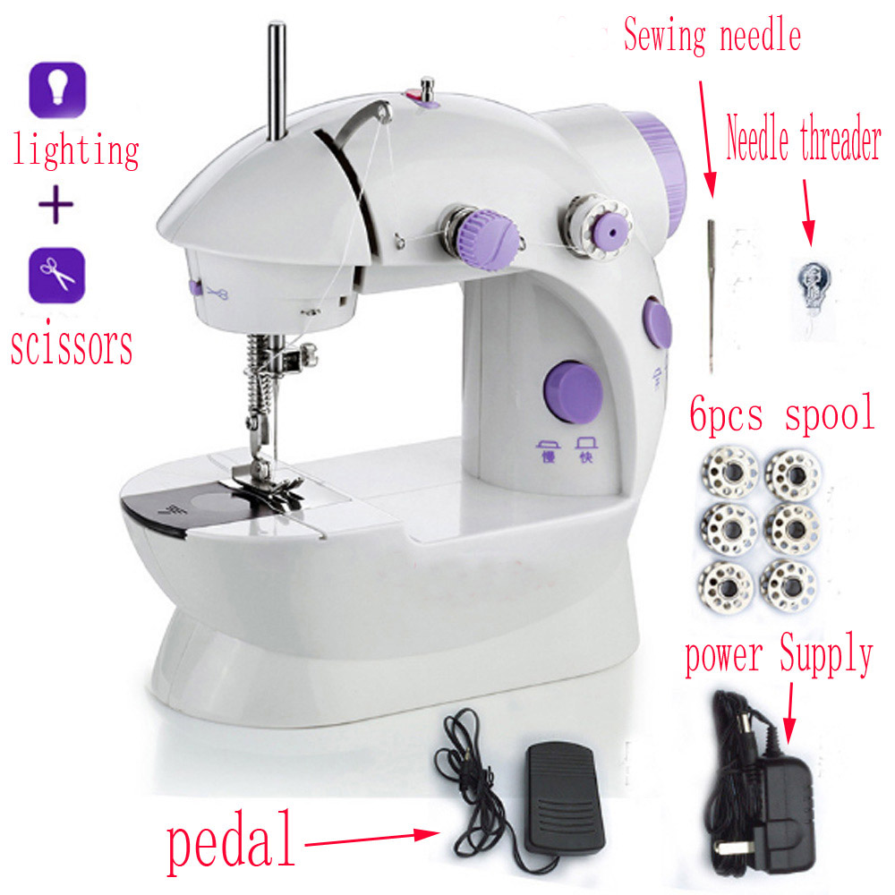 Mini Sewing Machine Portable Handheld Stitch Sew Needlework Cordless Clothes Fabrics Hand Electric Sewing Machines Accessories