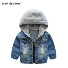 Mudkingdom Boys Denim Jacket Coat Hooded Cardigan Fashion Autumn Outerwear