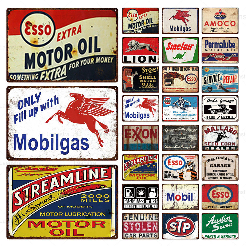 Metal Decor Plaque Retro Esso Gulf Motor Oil & Tire Service Art Poster Metal Tin Signs Vintage Garage Home Wall Decor Custom