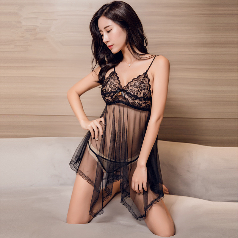 M - XXL Plus Size Lingerie Sexy Hot Erotic Lace Transparent Babydoll Dress With G string Women Sex Pajamas Nightdress image