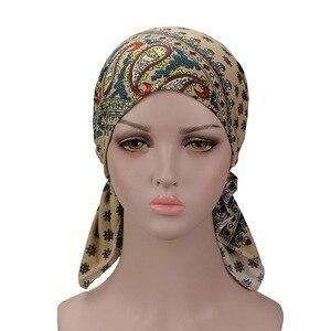 Image 4 - Muzułmańskie elastyczne kobiety bawełniany szalik Turban rak chemioterapia Chemo czapki czapki chusta na głowę nakrycia głowy na utrata włosów akcesoria