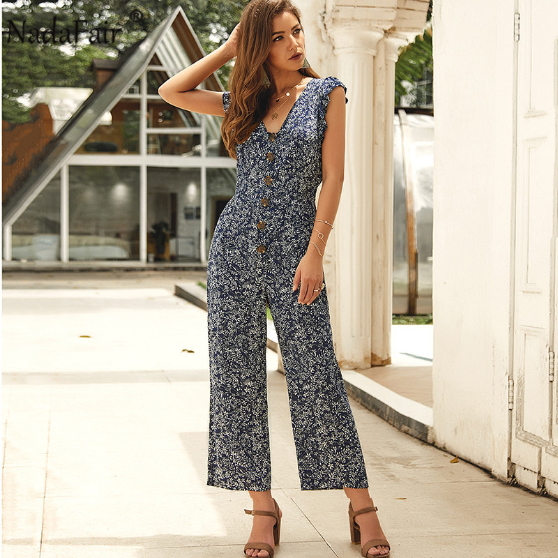 Nadafair Jumpsuit Women Summer 2020 Floral High Waist Plus Size Sexy V Neck Beach Casual Boho Elegant Jumpsuits  Femme Overalls