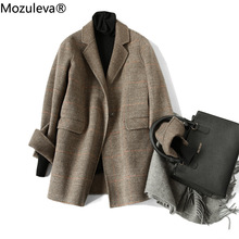 Plaid Coat Cashmere Wool Mozuleva Women Female Double-Sided Single-Breasted Casual Hand-Stitched