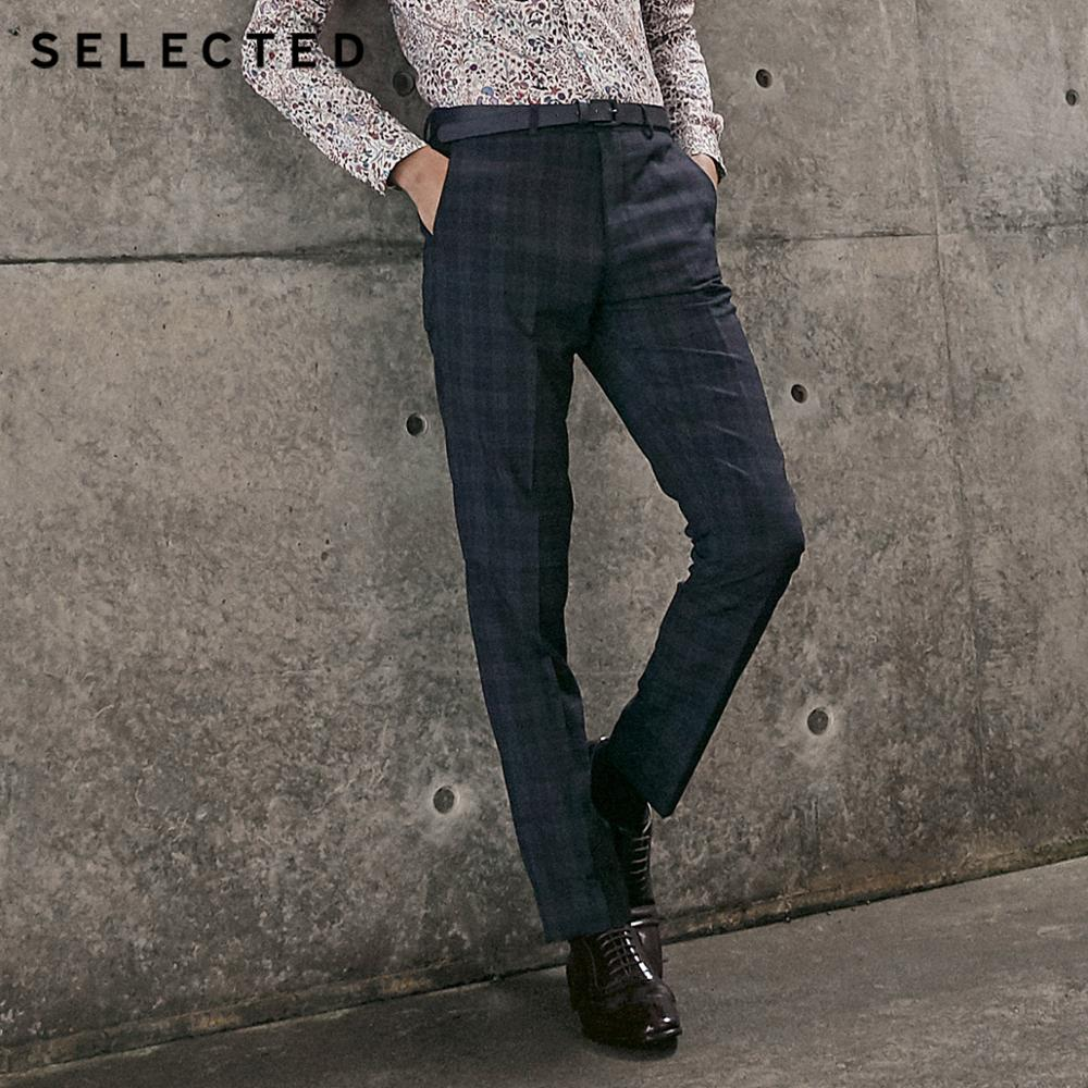 SELECTED Men's Dark Check Slim Fit Suit Pants T 41916A504