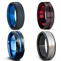 FDLK-anillo de acero inoxidable negro para hombre, 8MM, ranura azul y roja, borde biselado, boda, compromiso, aniversario, joyería para hombre