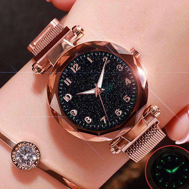 Luksusowe Luminous kobiety zegarki Starry Sky magnetyczny kobiet zegarek wodoodporny Rhinestone zegar relogio feminino montre femme 1