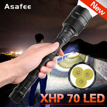 New Powerful LED Flashlight XHP70 Rechargeable Torch USB Zoom Lantern camping Hunting Lamp Use 18650  battery