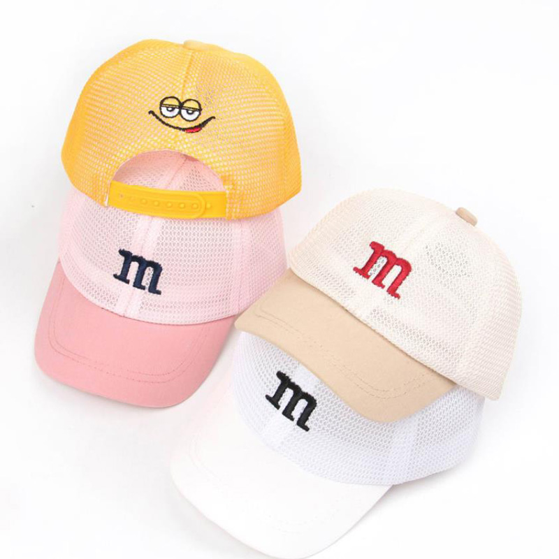 Doitbest Full Mesh Child Baseball Cap Cute M Letter Summer Hip Hop Breathable Kids Hats Boy Girls Hat Caps Snapback Gorras
