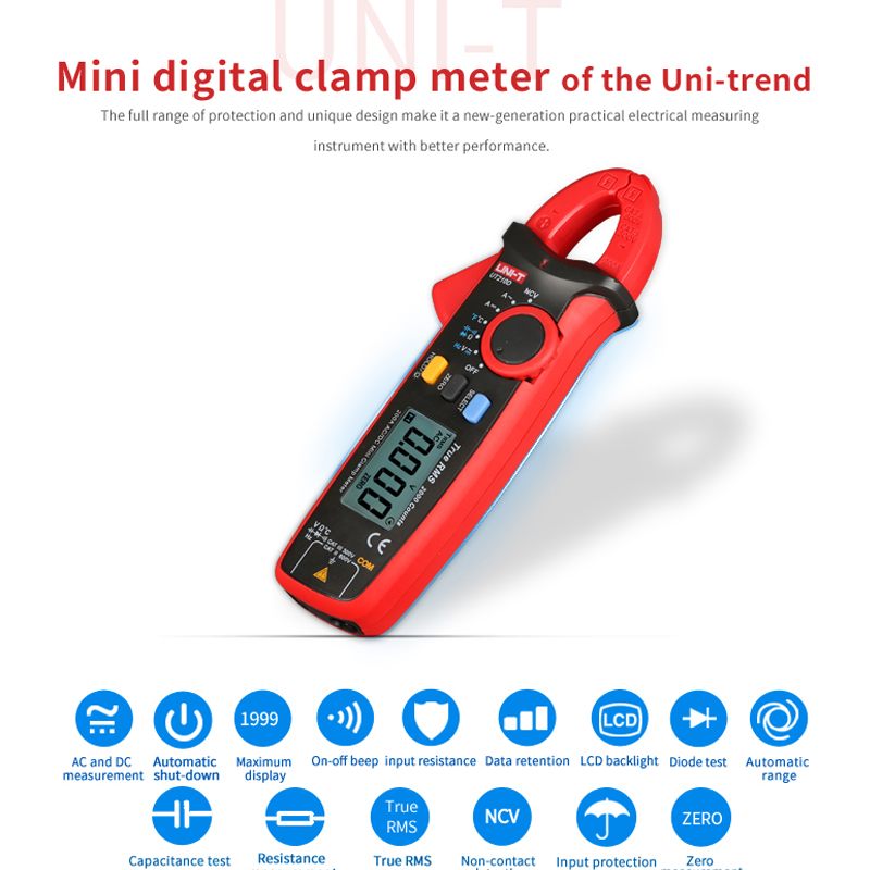 Range Tester T UT210E True Pro VFC Meter Mini DC Current Clamp AC Tester UT210D Multi Capacitance UNI Digital Auto RMS