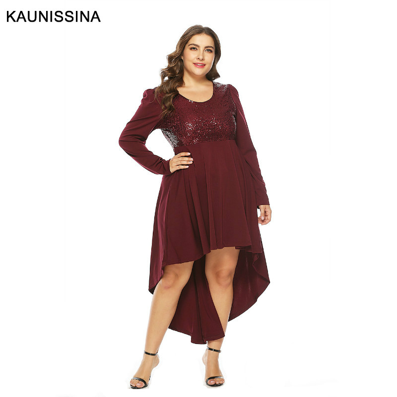 KAUNISSINA Plus Size   Cocktail     Dresses   Elegant Sequined Homecoming Robes Long Sleeve Burgundy Asymetrical Party   Dress